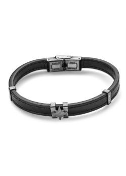 Bracelet en acier poli, bracelet en cuir noir, étoile