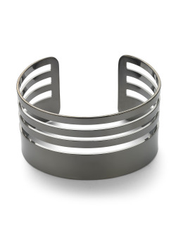 High fashion armband, rigide, zwart