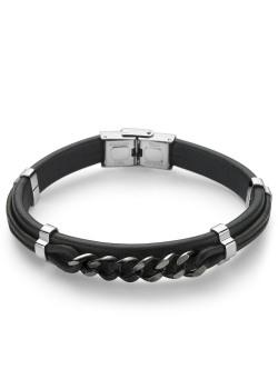 Armband in edelstaal, zwart en bruin