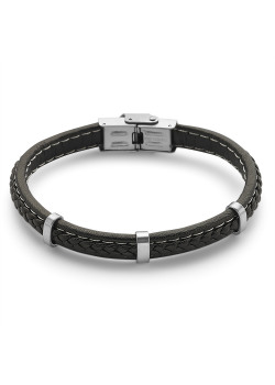Stainless steel bracelet, black leather
