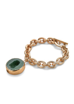 High fashion armband,  mat goudkleurige schakelarmband, turquoise natuursteen