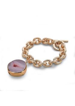High fashion armband, mat goudkleurige schakelarmband, paarse natuursteen