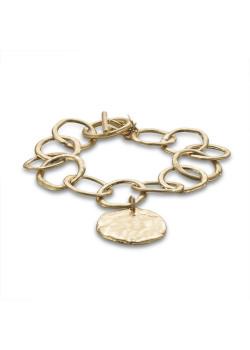 Gold-coloured high fashion bracelet, open circles, round