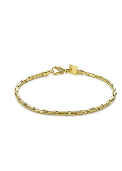 18ct gold plated bracelet, round link, 2,5 mm