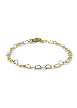18ct gold plated bracelet, open hearts, 4 mm