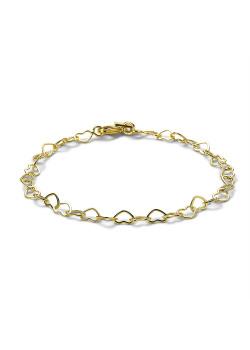 Armband in 18kt plaqué goud, open hartjes, 4 mm