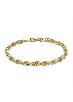 Armband in 18kt plaqué goud, dubbele forcat, 4 mm
