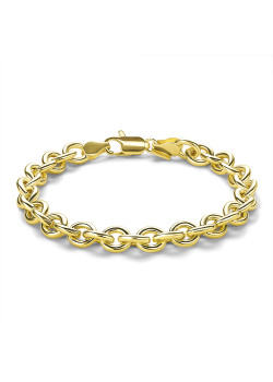Bracelet en plaqué or 18ct, maillon ovale, 7,5 mm
