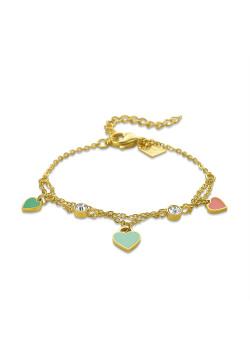 Bracelet en acier poli couleur or, 3 coeurs