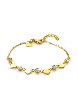 Armband in goudkleurig edelstaal, 4 hartjes, 5 steentjes