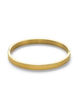 Armband in goudkleurig edelstaal, bangle met ruitjes