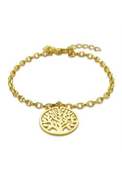 Armband in goudkleurig edelstaal, levensboom