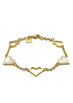 Gold-coloured stainless steel bracelet, 5 hearts