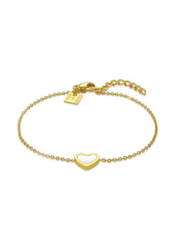 Gold-coloured stainless steel bracelet, mother-of-pearl heart
