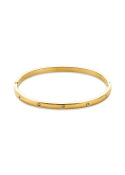 Bracelet en acier poli couleur or, bangle avec cristaux