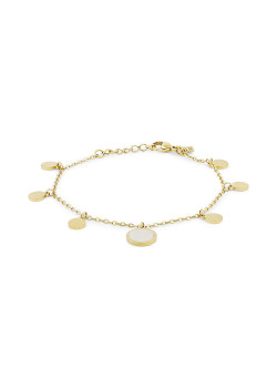 Armband in goudkleurig edelstaal, 6 rondjes, 1 parelmoer