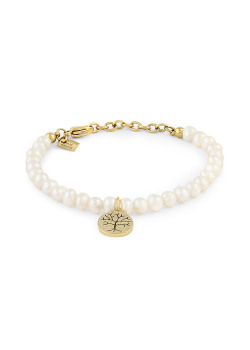 Gold-coloured stainless steel bracelet, pearls, hammered tree of life