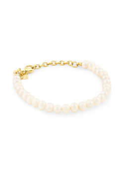 Gold-coloured stainless steel bracelet, pearls 6 mm