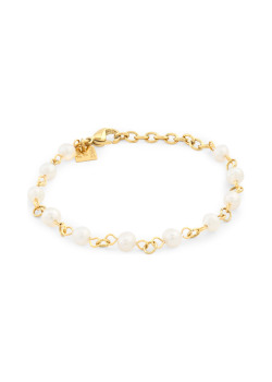 Armband in goudkleurig edelstaal, 11 pareltjes