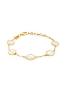 Armband in goudkleurig edelstaal, 5 rondjes, parelmoer