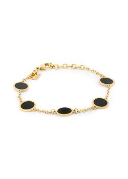 Armband in goudkleurig edelstaal, 5 rondjes, zwart