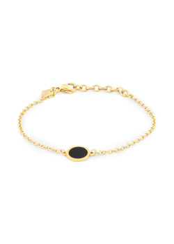 Gold-coloured stainless steel bracelet, black round