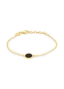 Armband in goudkleurig edelstaal, zwart rondje