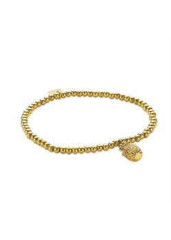 Gold-coloured stainless steel bracelet, chain with balls, pineapple