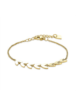 Gold-coloured stainless steel bracelet, small hearts on chain