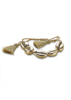Bracelet en acier poli couleur or, 5 coquillages, floches