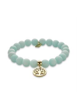 Armband in goudkleurig edelstaal, turquoise bollen, levensboom
