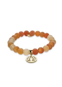 Armband in goudkleurig edelstaal, oranje bollen, levensboom