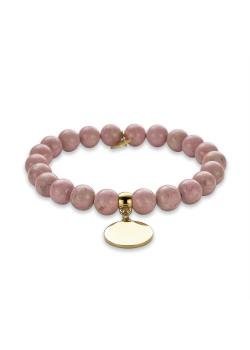 Armband in goudkleurig edelstaal, roze bollen, ronde