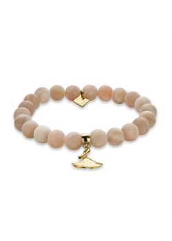 Armband in goudkleurig edelstaal, roze bollen, gingko biloba blad