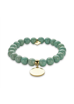 Armband in goudkleurig edelstaal, turquoise bollen, ronde