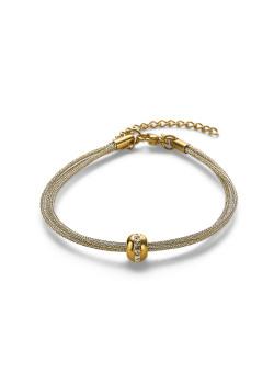 Armband in goudkleurig edelstaal, 3 rijen, bol met kristallen