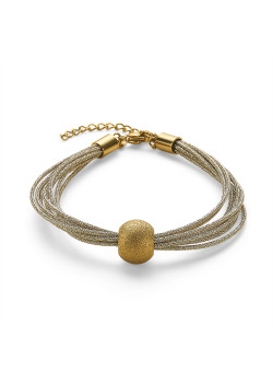 Gold-coloured stainless steel bracelet, 8 cords, hammered ball