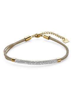 Bracelet en acier poli couleur or, 4 cordes, tube en cristaux