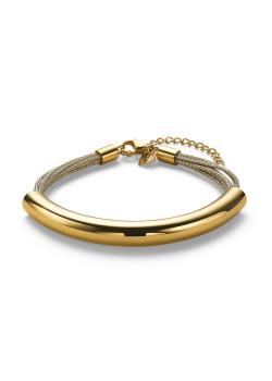 Armband in goudkleurig edelstaal, 8 rijen, gebogen buis