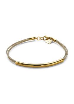 Bracelet en acier poli couleur or, 3 cordes, tube