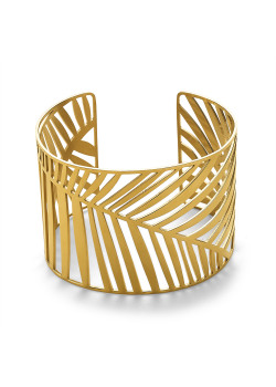 Armband in goudkleurig edelstaal, brede bangle, blad