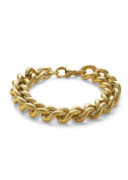 Armband in goudkleurig edelstaal, gehamerde schakels