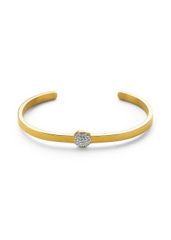 Gold-coloured stainless steel bracelet, round with crystals