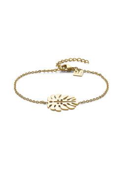 Armband in goudkleurig edelstaal, blad