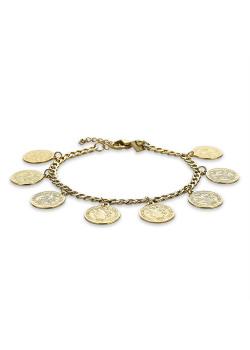 Armband in goudkleurig edelstaal, gourmet ketting met 8 munten
