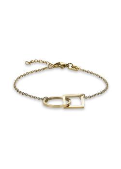 Armband in goudkleurig edelstaal, cirkel en ruit