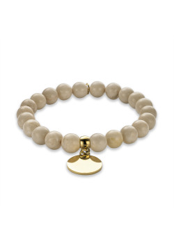 Armband in goudkleurig edelstaal, beige bollen, ronde