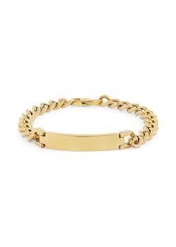 Armband in goudkleurig edelstaal, gourmet ketting, naamplaat