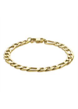 Bracelet en acier poli couleur cuivre, maillon figaro