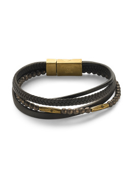 Stainless steel bracelet, 4 rows of brown leather, brown balls